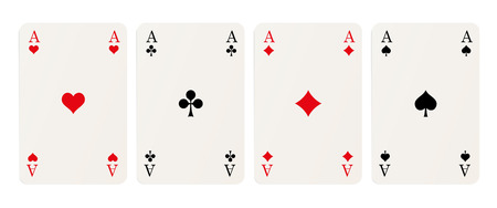 rummy: four playing cards with aces isolated on white background