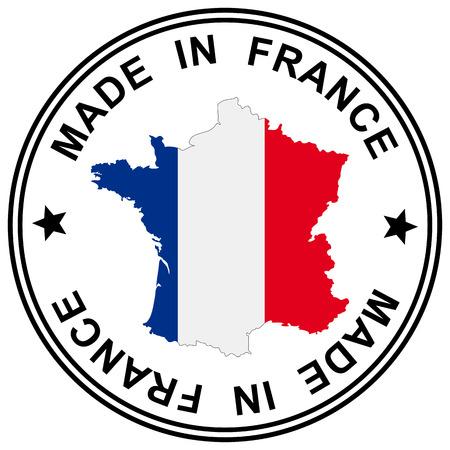 """bandera francia: parche redondo """"Made in France"""" con la silueta de Francia Vectores"""