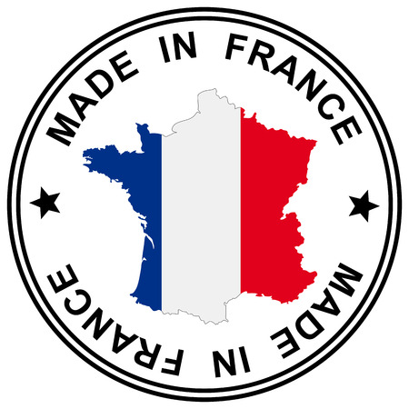 "round patch "" Made in France "" with silhouette of france"