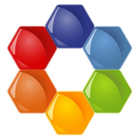symbolism: honey comb with six options for team work symbolism