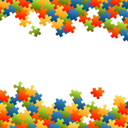 work team: fine colored puzzle pieces on white background