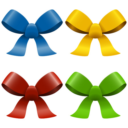 ribbons and bows: collection of four bows with ribbons isolated on white background Illustration