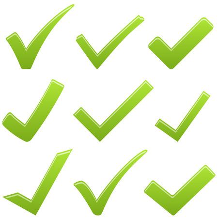 zbiór różnych zielonych haków na sukces symboliki