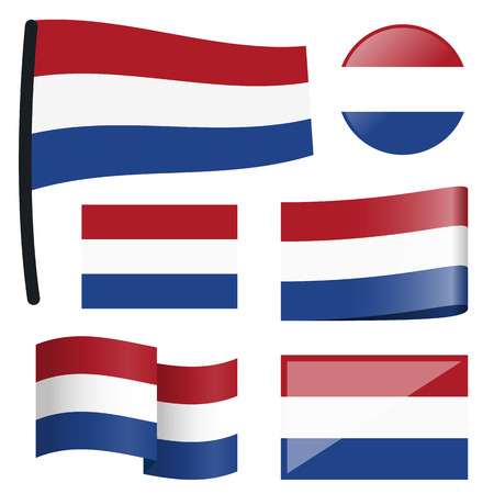 customercare: collection of different swung flags of country Netherlands Illustration