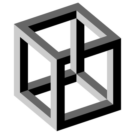 delusion: black and white illustration of phenomenal optical illusion Illustration