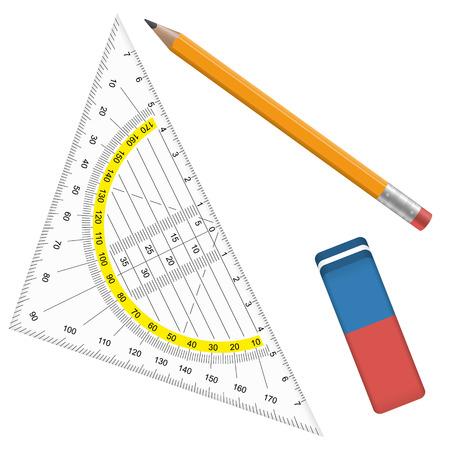 geïsoleerde collectie van potlood, gum en gradenboog