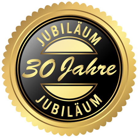 thirty: round seal colored black and gold for thirty years jubilee Illustration
