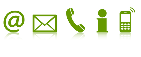 Contact Us – set of green colored icons with reflection