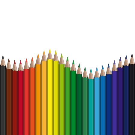 color range: seamless wave background with different colored pens Illustration