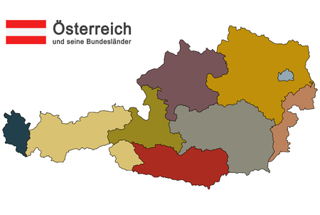 austria: silhouettes of Austria and the federal states Illustration