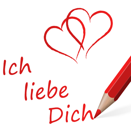 matrimony: red pen with text I love you and two hearts