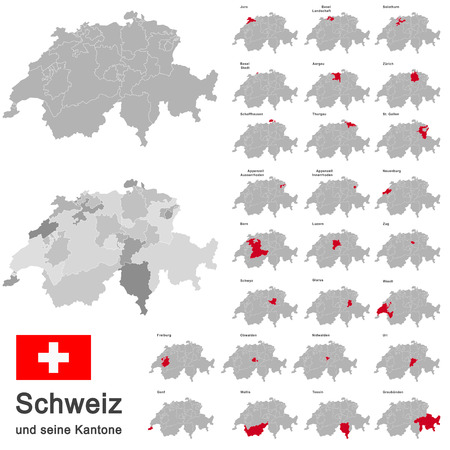 silhouettes of european country Switzerland and all cantons Çizim