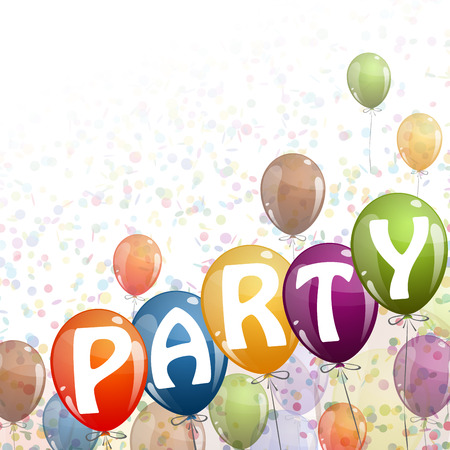 colored balloons: flying colored balloons with ribbons, confetti and text Party