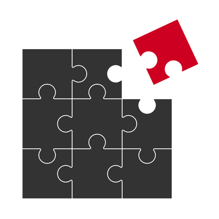 black puzzle with one red part who does not fit