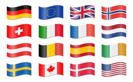 collection of different EU and US swung country flags