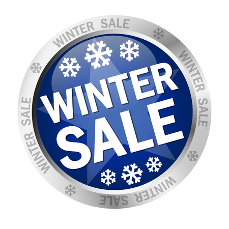 cheaper: colored button with banner and text - Winter Sale Illustration