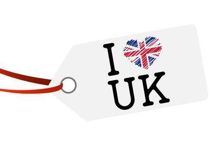 hang tag: white hang tag with red ribbon and text I LOVE UK
