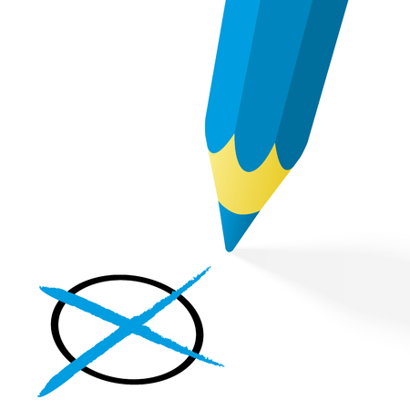off the hook: illustration of pencil colored blue drawing a cross Illustration