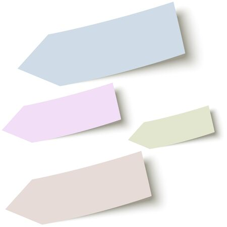 collection of sticky papers arrow with shadow in four different colors Vettoriali