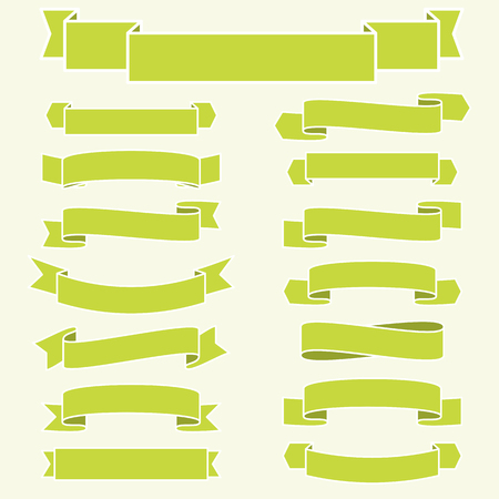 banderole: little collection of different banners in fine green colors Illustration