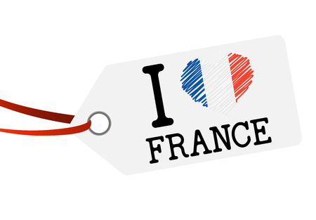 hang tag: white hang tag with red ribbon and text I LOVE FRANCE