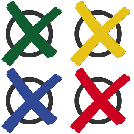 symbolize: collection of colored crosses to symbolize election