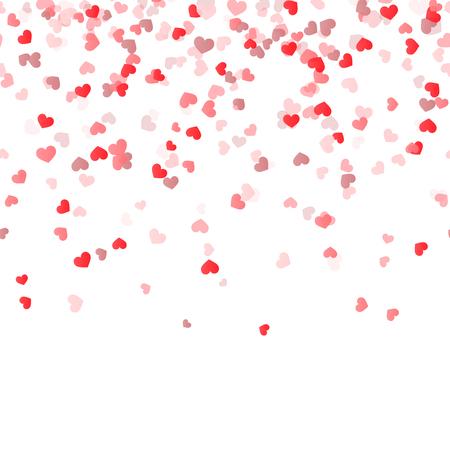 amistad: fondo transparente con diferentes corazones de confeti de colores para el tiempo de San Valentín