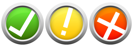 authorize: collection of colored buttons with silver frame and check mark, exclamation mark and cross