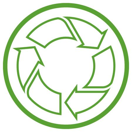 grüne Recycling-Zeichen im Kreis auf weißem Hintergrund