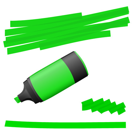 felt tip pen: green colored high lighter with markings for advertising usage