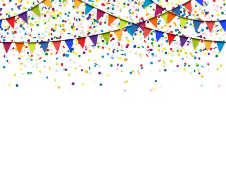invitación a fiesta: guirnaldas de colores sin fisuras y confeti de fondo para el uso de parte o del festival