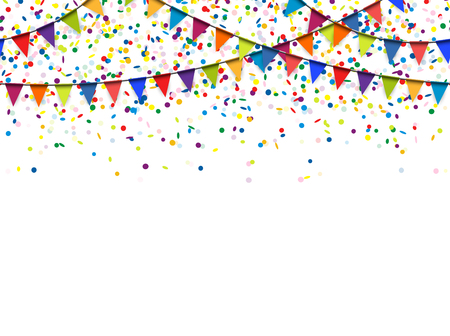 seamless colored garlands and confetti background for party or festival usage Çizim