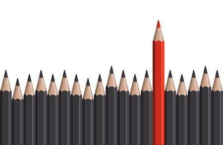 individually: row of gray pencils with one colored red symbolizing the special one Illustration