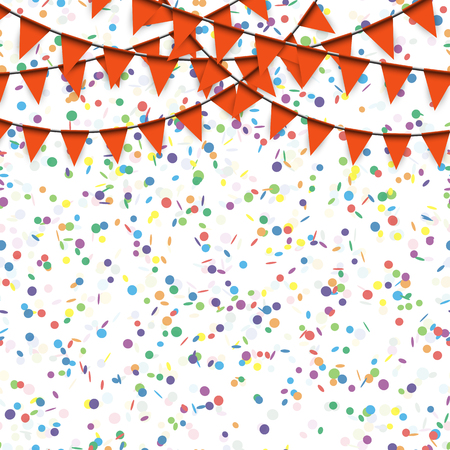 pennon: colored garlands and confetti background for party or festival usage