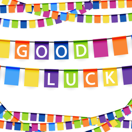felicitate: colored garlands background with white text good luck