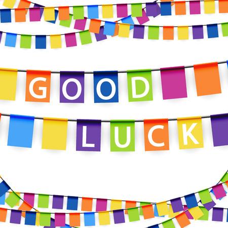 gekleurde slingers achtergrond met witte tekst good luck