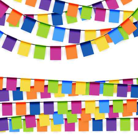 pennon: colored garlands background collection for party or festival usage Illustration