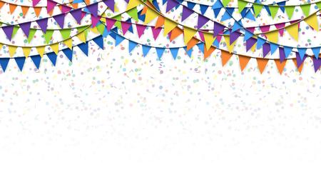 gekleurde slingers en confetti achtergrond voor feest of festival gebruik Stock Illustratie