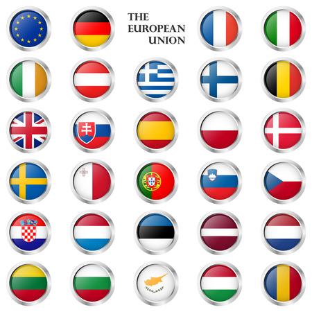 verzameling van ronde knoppen met verschillende EU-vlaggen landen en zilveren frame