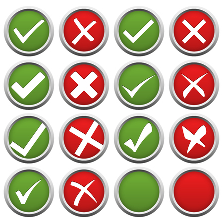 symbolize: collection of red and green check marks and crosses to symbolize success