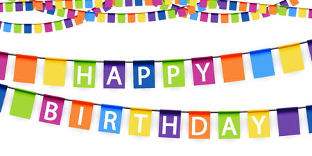 pennon: colored garlands background with white text Happy Birthday