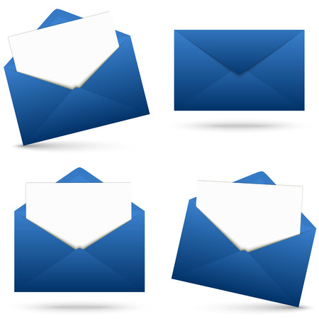 collection d'enveloppes bleues ouvert avec du papier blanc vide et de l'ombre