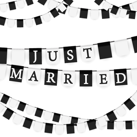 banderol: black and white colored garlands background with text Just Married Illustration