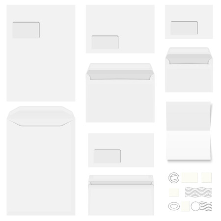 din: big collection of white envelopes, stationery and different post marks