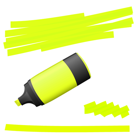 felt tip pen: yellow colored high lighter with markings for advertising usage