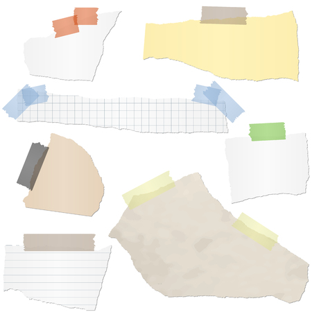 adhesive: collection of different colored scraps of papers with adhesive strips