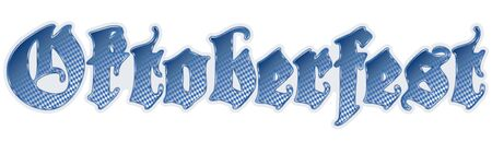 wiesn: letters of german Oktoberfest with shiny frame and blue and white checkered pattern