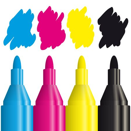 four color printing: four highlighters with the CMYK color to use for print advertising Illustration
