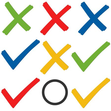 marked boxes: collection of colored check marks and crosses for election