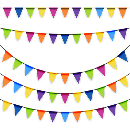colored garlands background collection for party or festival usage  イラスト・ベクター素材